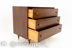 National Furniture Company Mid Century Walnut and Brass 3 Drawer Dresser Chest - 1869174