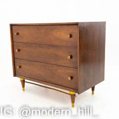National Furniture Company Mid Century Walnut and Brass 3 Drawer Dresser Chest - 1869176