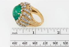 Natural Emerald Cabochon Diamond and Gold Cocktail Ring - 198976