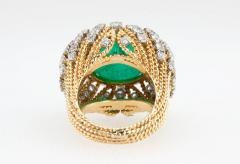 Natural Emerald Cabochon Diamond and Gold Cocktail Ring - 198979
