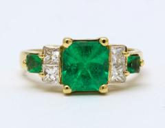Natural Emerald and Diamond Engagement Ring - 1277004