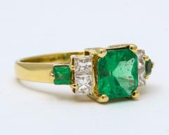 Natural Emerald and Diamond Engagement Ring - 1277006