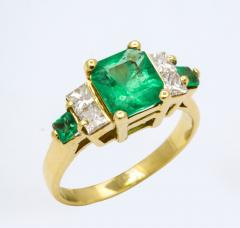 Natural Emerald and Diamond Engagement Ring - 1277009