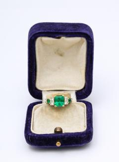 Natural Emerald and Diamond Engagement Ring - 1277010