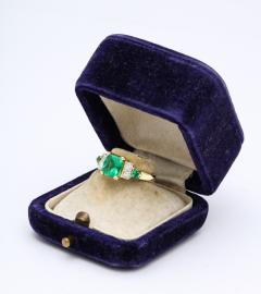 Natural Emerald and Diamond Engagement Ring - 1277011