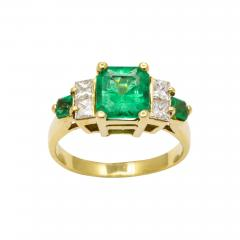 Natural Emerald and Diamond Engagement Ring - 1288345