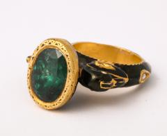 Natural Emerald and Diamonds in Enameled 18 kt Gold Setting Flanked By Birds - 1174644