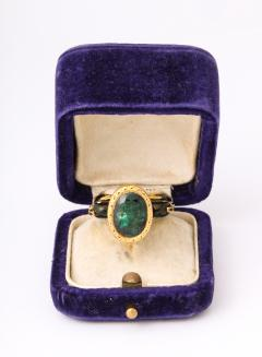 Natural Emerald and Diamonds in Enameled 18 kt Gold Setting Flanked By Birds - 1174648