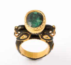 Natural Emerald and Diamonds in Enameled 18 kt Gold Setting Flanked By Birds - 1175049
