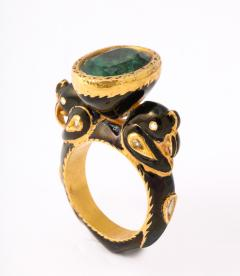 Natural Emerald and Diamonds in Enameled 18 kt Gold Setting Flanked By Birds - 1175052