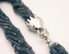 Natural Labradorite B W CZ Platinum over Sterling Silver Lion Head Necklace - 1706869