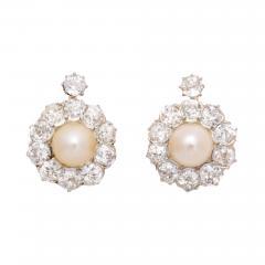 Natural Pearl Diamond Earrings - 598819