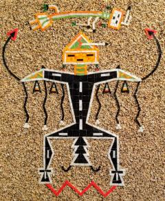Navajo Sand Painting Mosaic Art Wall Panel of Father Sky 1960s - 1288167