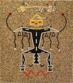 Navajo Sand Painting Mosaic Art Wall Panel of Father Sky 1960s - 1288201
