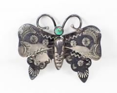 Navajo silver and turquoise butterfly pin - 1679229
