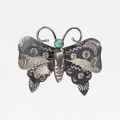 Navajo silver and turquoise butterfly pin - 1679774