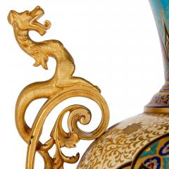 Near pair of porcelain vases with Chinoiserie detailing - 1558795
