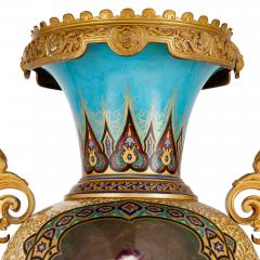 Near pair of porcelain vases with Chinoiserie detailing - 1558798
