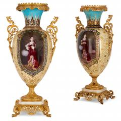 Near pair of porcelain vases with Chinoiserie detailing - 1558801