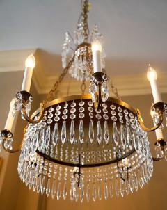 Neoclassic Style Brass and Crystal Chandelier - 1064049