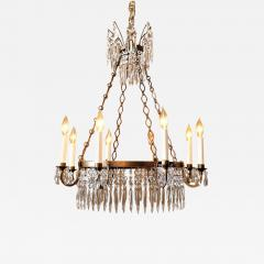 Neoclassic Style Brass and Crystal Chandelier - 1064388