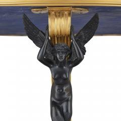 Neoclassical Empire style ormolu lapis lazuli table w patinated bronze mounts - 1907345
