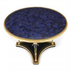 Neoclassical Empire style ormolu lapis lazuli table w patinated bronze mounts - 1907349