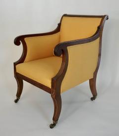 Neoclassical English Regency Upholstered Mahogany Bergere - 1636508