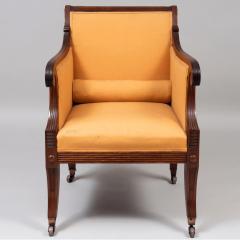 Neoclassical English Regency Upholstered Mahogany Bergere - 1636509