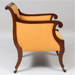 Neoclassical English Regency Upholstered Mahogany Bergere - 1636510