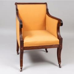 Neoclassical English Regency Upholstered Mahogany Bergere - 1636511