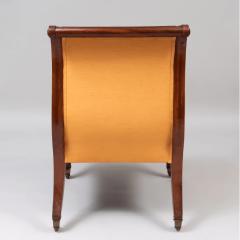 Neoclassical English Regency Upholstered Mahogany Bergere - 1636512