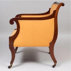 Neoclassical English Regency Upholstered Mahogany Bergere - 1636513