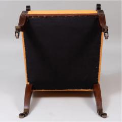Neoclassical English Regency Upholstered Mahogany Bergere - 1636514