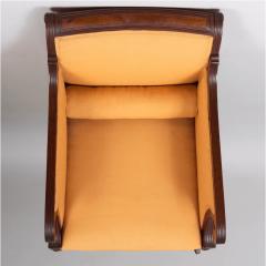 Neoclassical English Regency Upholstered Mahogany Bergere - 1636515