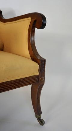 Neoclassical English Regency Upholstered Mahogany Bergere - 1636517