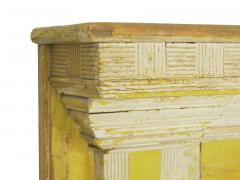 Neoclassical Federal Antique Fireplace Surround Mantel in Yellow White Paint - 998544