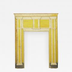 Neoclassical Federal Antique Fireplace Surround Mantel in Yellow White Paint - 998610