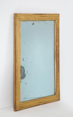 Neoclassical Italian gilded rectangular mirror with ribbed carving - 1013825