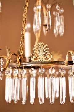 Neoclassical Style Brass and Crystal Chandelier - 1064765