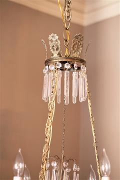 Neoclassical Style Brass and Crystal Chandelier - 1064766