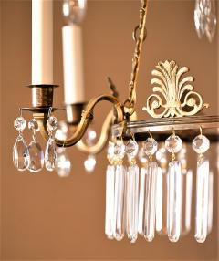 Neoclassical Style Brass and Crystal Chandelier - 1064767