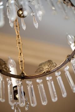 Neoclassical Style Brass and Crystal Chandelier - 1064768