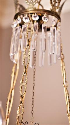 Neoclassical Style Brass and Crystal Chandelier - 1064769