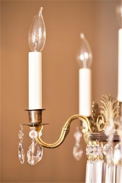 Neoclassical Style Brass and Crystal Chandelier - 1064770