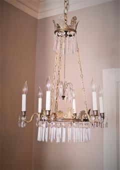 Neoclassical Style Brass and Crystal Chandelier - 1064771