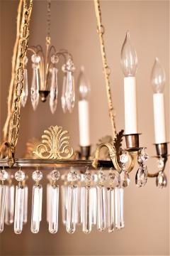 Neoclassical Style Brass and Crystal Chandelier - 1064772