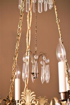 Neoclassical Style Brass and Crystal Chandelier - 1064773