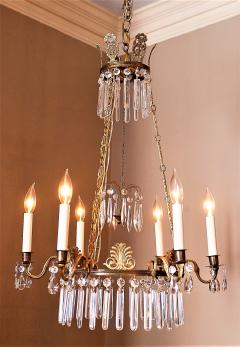Neoclassical Style Brass and Crystal Chandelier - 1064774