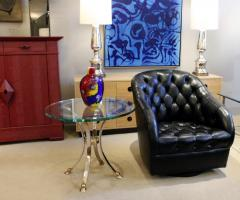 Neoclassical Style End Table in Brass and Steel 1960s - 1181183